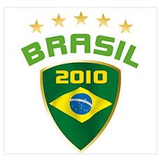 Soccer Crest 2010 BRASIL Stars Poster