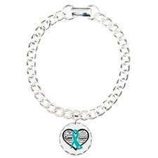 PCOS Heart Collage Ribbon Charm Bracelet, One Char