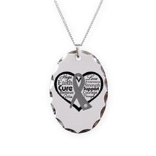 Parkinsons Disease Heart Necklace Oval Charm
