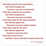 First they came for poem martin niemoller Framed Prints