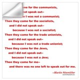 First they came for poem martin niemoller Wall Decals