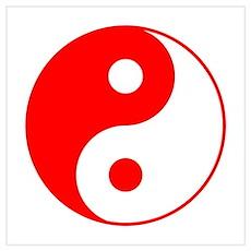 Red Yin Yang Symbol Poster