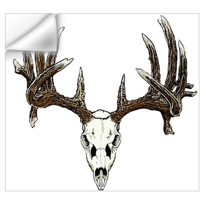 White tail deer skull drawing Wall Decal