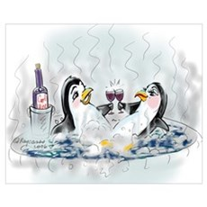 hOt tUb pEnGuInS Framed Print