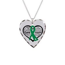Liver Disease Heart Ribbon Necklace