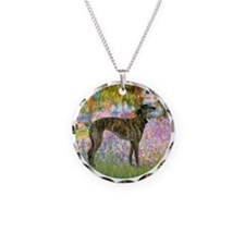 Garden / Greyhound (br) Necklace Circle Charm