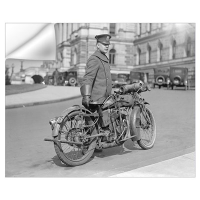Motorcycle Police Officer, 1922 Wall Decal