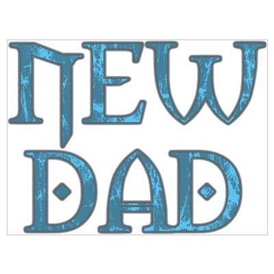 Blue Carved New Dad Canvas Art