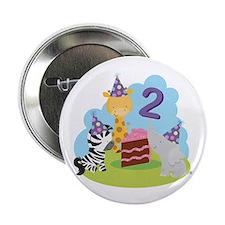 """2nd Birthday Zoo Animals 2.25"""" Button"""