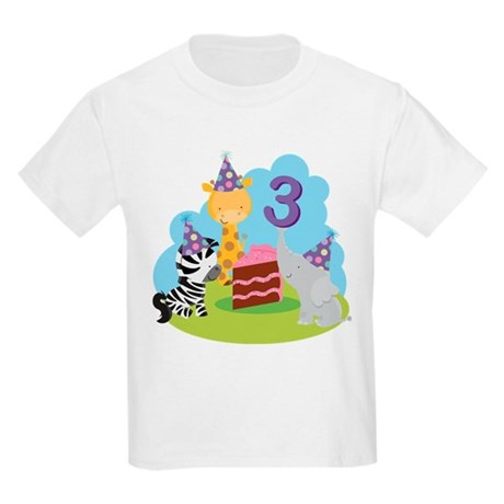 3rd Birthday Zoo Animals Kids Light T-Shirt