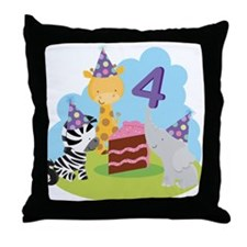 4th Birthday Zoo Animals Throw Pillow