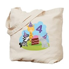 4th Birthday Zoo Animals Tote Bag