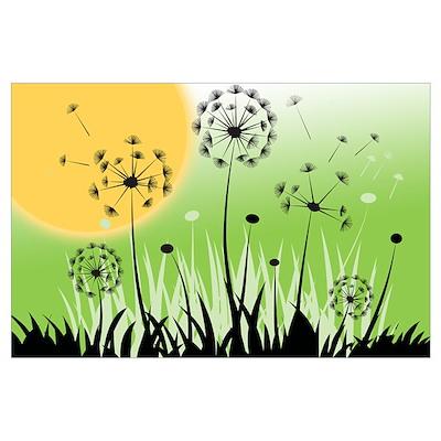 Fields of Dandelion Art Poster