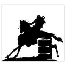 barrel racing silhouette Poster
