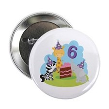 "6th Birthday Zoo Animals 2.25"" Button"