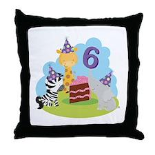 6th Birthday Zoo Animals Throw Pillow