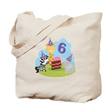 6th Birthday Zoo Animals Tote Bag