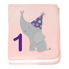 1st Birthday Elephant baby blanket