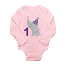 1st Birthday Elephant Long Sleeve Infant Bodysuit