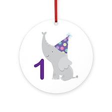 1st Birthday Elephant Ornament (Round)