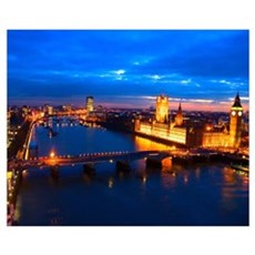 Cityscape of London at Night Canvas Art