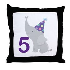5th Birthday Zoo Animals Throw Pillow