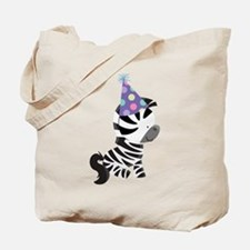 Cute Birthday Zebra Tote Bag