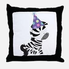 Cute Birthday Zebra Throw Pillow