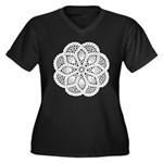 Doily Women's Plus Size V-Neck Dark T-Shirt