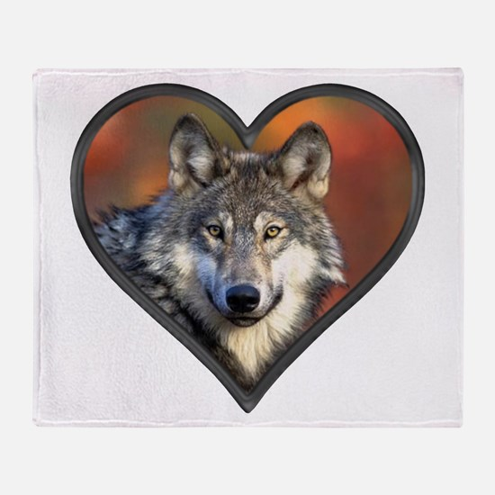 Wolf Heart Throw Blanket