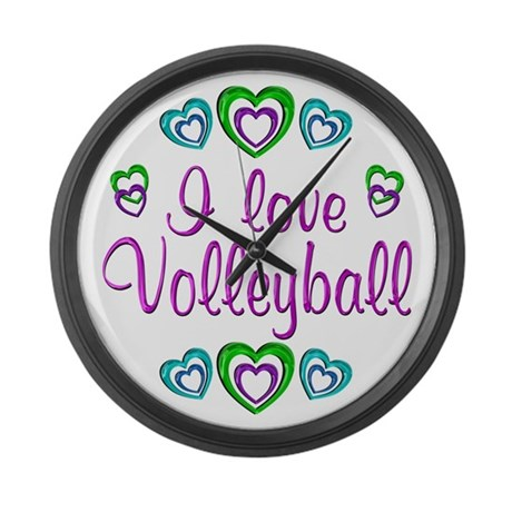 I Love Volleyball Large Wall Clock