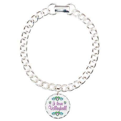 I Love Volleyball Charm Bracelet, One Charm