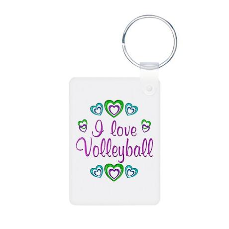 I Love Volleyball Aluminum Photo Keychain