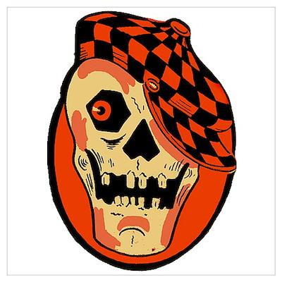 Rockabilly Halloween Skull Poster