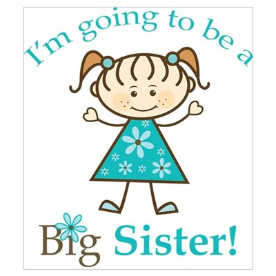 Big Sister To Be Stick Figure Poster