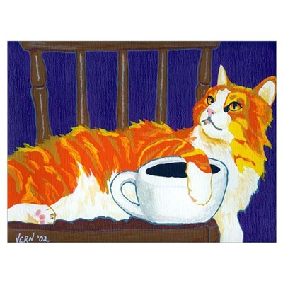 Orange Coffee Cat Framed Print