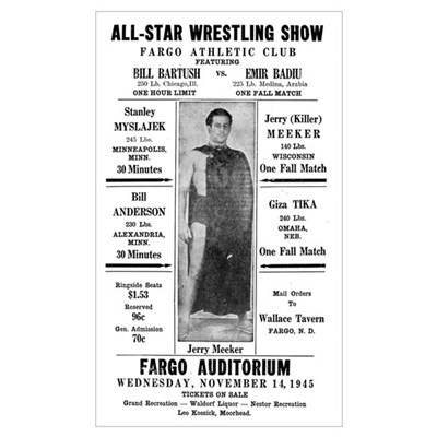 1945 Fargo All-Star Wrestling Show Poster