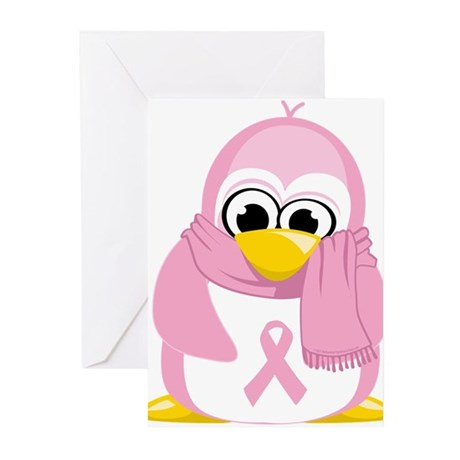 Breast Cancer Pink Penguin Greeting Cards (Pk of 1