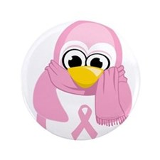 "Breast Cancer Pink Penguin 3.5"" Button"