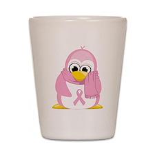 Breast Cancer Pink Penguin Shot Glass