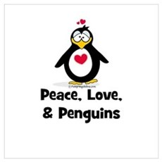 Peace, Love and Penguins Poster