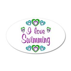 I Love Swimming 22x14 Oval Wall Peel