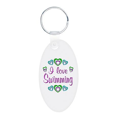 I Love Swimming Aluminum Oval Keychain