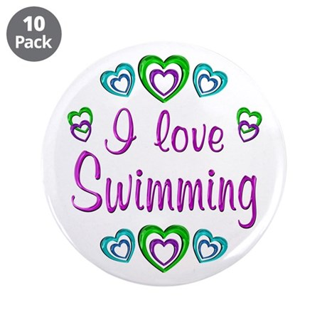 "I Love Swimming 3.5"" Button (10 pack)"