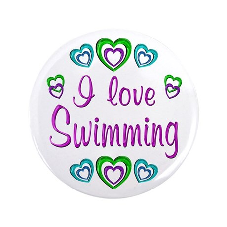 "I Love Swimming 3.5"" Button (100 pack)"