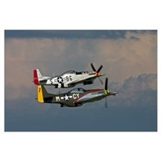 P-51 Mustang formation Poster