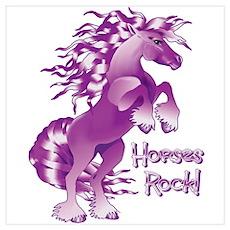 Purple Horses Rock Poster