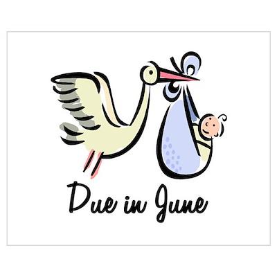 Due In June Stork Poster