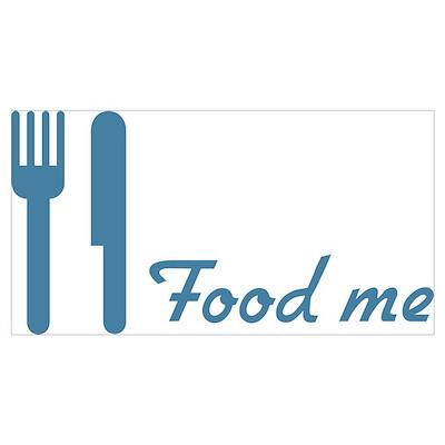 Blue Food Me Fork Knife Poster