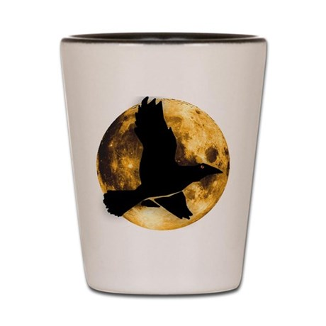 Full Moon with Raven Shot Glass